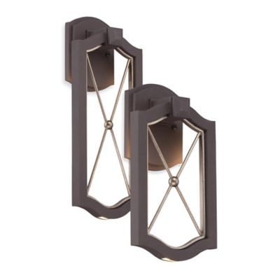 Minka Lavery® Eastborne 13.25-Inch 1-Light Wall-Mount LED Outdoor Sconce in Bronze w/Glass Shade