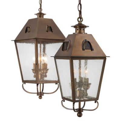 Minka Lavery® Edenshire 3-Light Chain Hung Outdoor Lantern in Brass with Glass Shade
