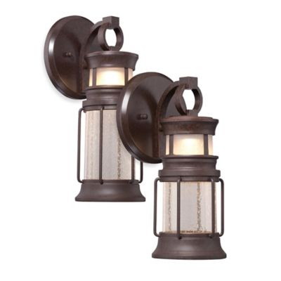 Minka Lavery® Garreston Pointe 14.75-Inch 1-Light Wall-Mount Outdoor LED Lantern in Bronze