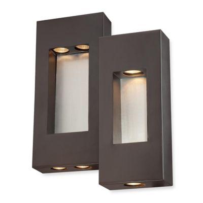 Minka Lavery® Geox 4-Light Wall-Mount Outdoor Pocket Lantern in Bronze