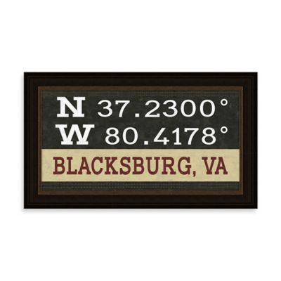 Blacksburg, VA Map Coordinates Sign