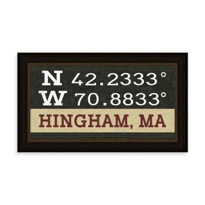 Hingham, MA Map Coordinates Sign