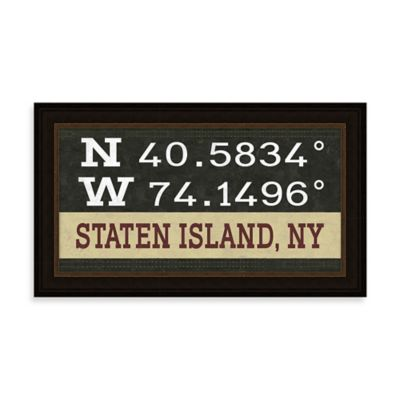Staten Island, NY Map Coordinates Sign
