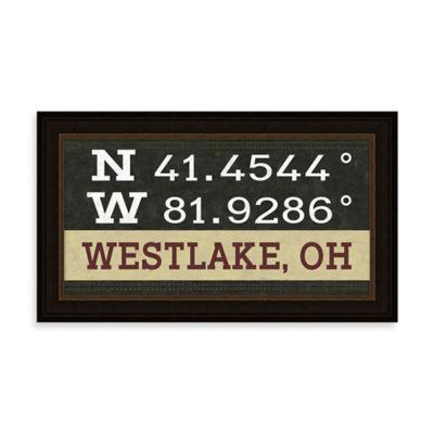 Westlake, OH Map Coordinates Sign
