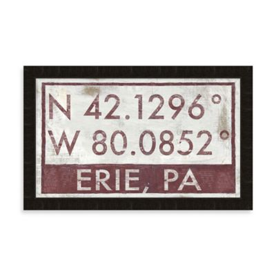 Framed Erie, PA, Map Coordinates Wall Art