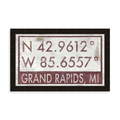 Grand Rapids, MI Map Coordinates Sign
