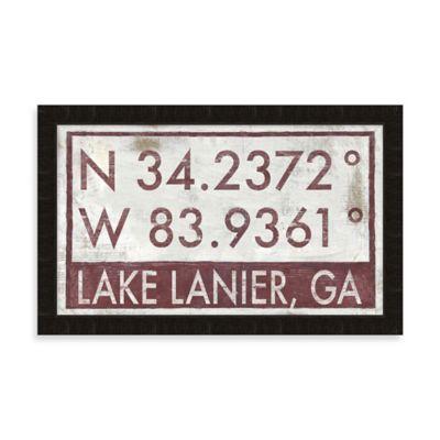 Lake Lanier, GA Map Coordinates Sign