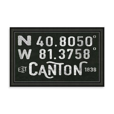 "Vintage Black and White Style Framed ""Canton, OH"" Sign"