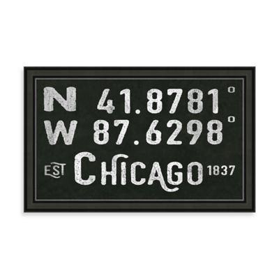 "Vintage Black and White Style Framed ""Chicago, IL"" Sign"