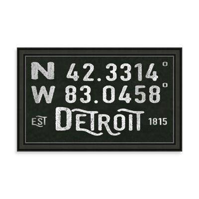 "Vintage Black and White Style Framed ""Detroit, MI"" Sign"