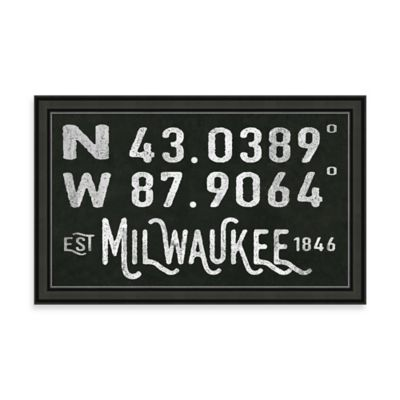 "Vintage Black and White Style Framed ""Milwaukee, WI"" Sign"