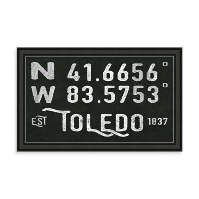 "Vintage Black and White Style Framed ""Toledo, OH"" Sign"