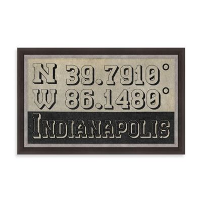 "Retro Style Framed ""Indianapolis"" Map Coordinates Sign"