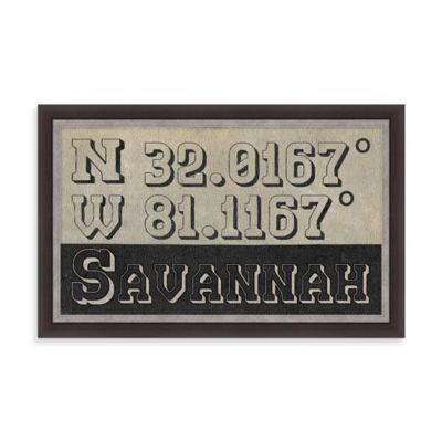 "Retro Style Framed ""Savannah"" Map Coordinates Sign"
