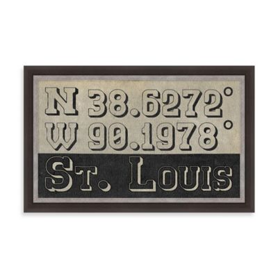 Retro Style Framed St. Louis, MO Map Coordinates Sign
