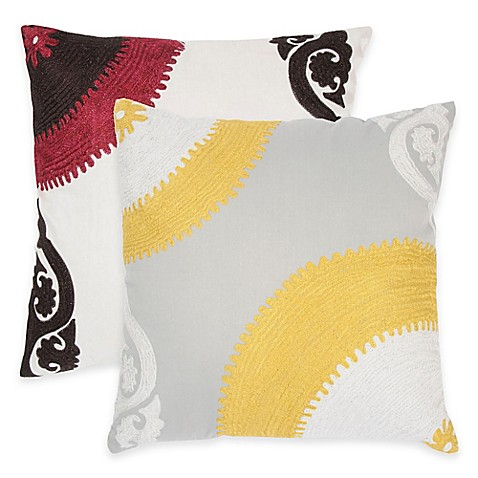 Square Throw Pillow Pattern : Rizzy Home Embroidered Pattern Square Throw Pillow - BedBathandBeyond.com