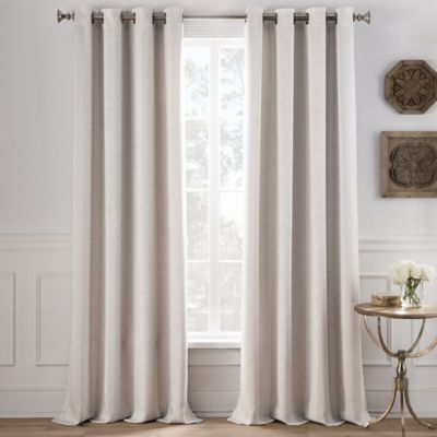 Cole Stripe 63-Inch Grommet Top Window Curtain Panel in Denim