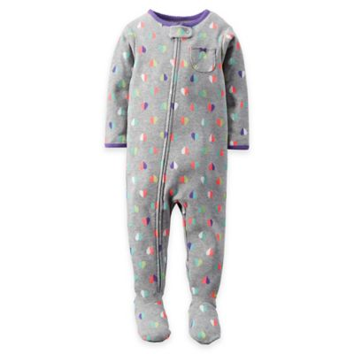 carter's® Size 24M Zip-Front Colorful Hearts Footed Pajama in Grey