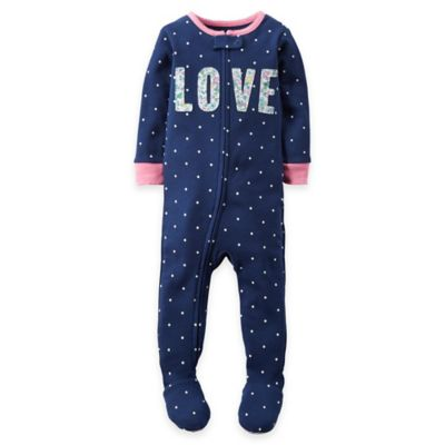 "carter's® Size 12M Zip-Front Polka Dot ""Love"" Footed Pajama in Navy"