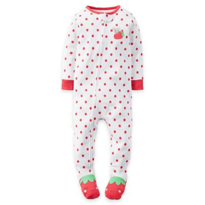 carter's® Size 12M Zip-Front Strawberry Polka Dot Footed Pajama in Red