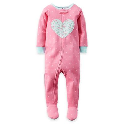 carter's® Size 24M Zip-Front Floral Heart Polka Dot Footed Pajama in Pink