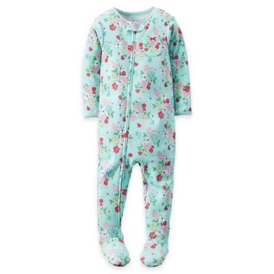 carter's® Size 12M Small Floral Print Zip Front Footed Pajama in Blue