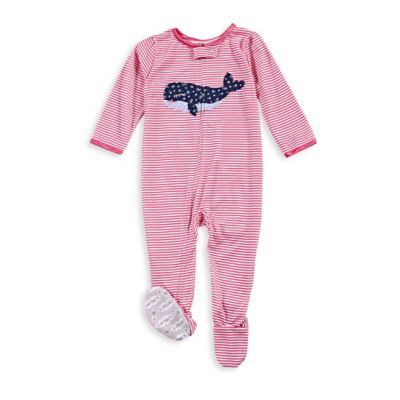 carter's® Size 12M Zip-Front Whale Striped Footed Pajama in Pink