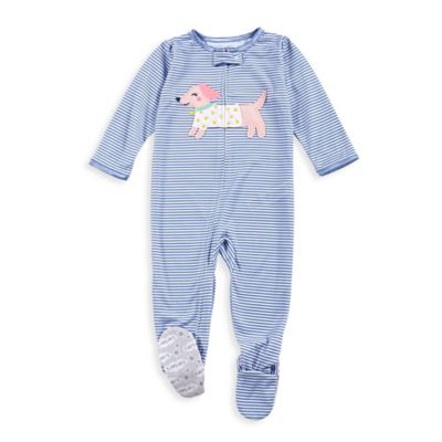 carter's® Size 24M Zip-Front Bulldog Striped Footed Pajama in Blue