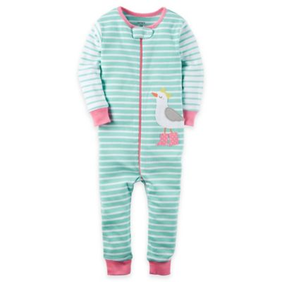 carter's® Size 12M Zip-Front Cotton Stripe Footless Coverall in Mint