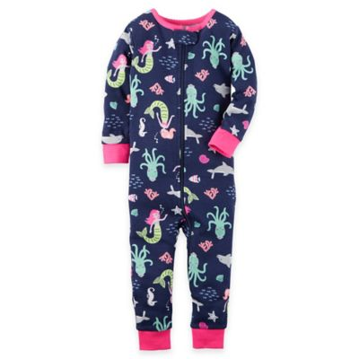 carter's® Size 18M Zip-Front Cotton Mermaid Footless Coverall in Navy