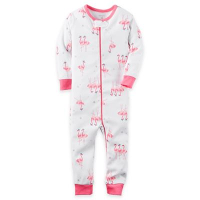 carter's® Size 24M Zip-Front Cotton Flamingo Footless Coverall in Pink