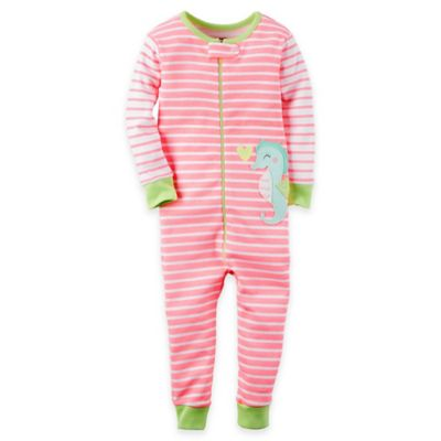 carter's® Size 24M Zip-Front Cotton Stripe Footless Coverall in Pink