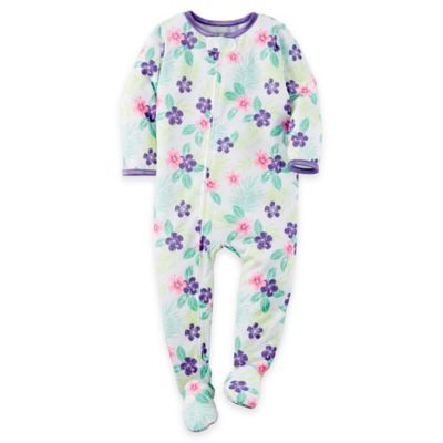 carter's® Size 12M Zip-Front Flowers Footie in White