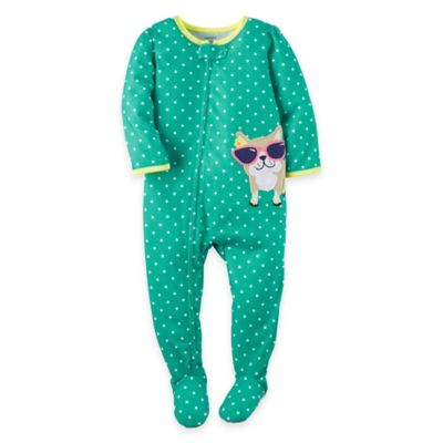 carter's® Size 12M Zip-Front Dot Dog Footie in Green