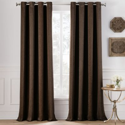 Cole Stripe 108-Inch Grommet Top Window Curtain Panel in Chocolate