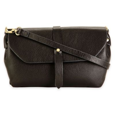 Hadaki® Flap-Over Crossbody Bag in Black with Navy Stitching
