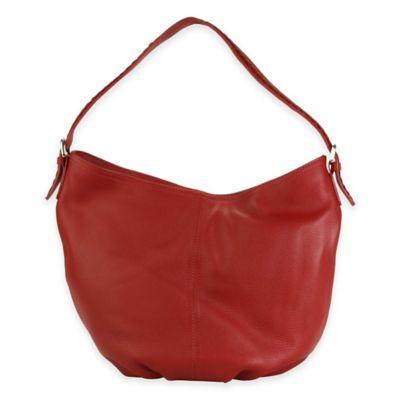 Hadaki® Slouchy Hobo Leather Bag in Deep Red