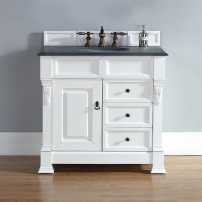 James Martin Furniture Brookfield Single Vanity with Black Rustic Stone Top in Cottage White