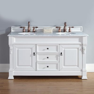 James Martin Brookfield 60-Inch Double Vanity with Carrara White Stone Top in Cottage White