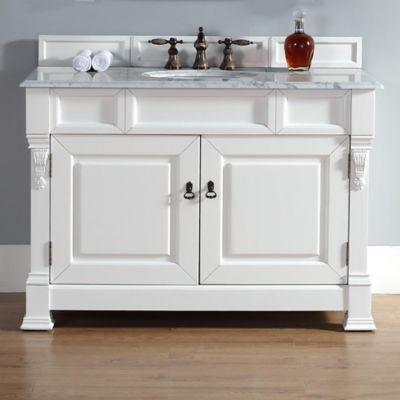 James Martin Furniture Brookfield Single Vanity with Carrara White Stone Top in Cottage White