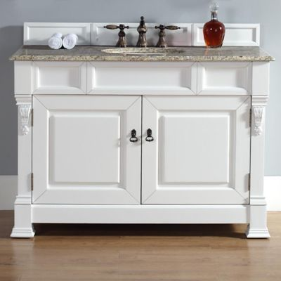 James Martin Furniture Brookfield Single Vanity with Santa Cecilia Stone Top in Cottage White