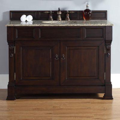 James Martin Furniture Brookfield Single Vanity with Santa Cecilia Stone Top with Burnished Mahogany