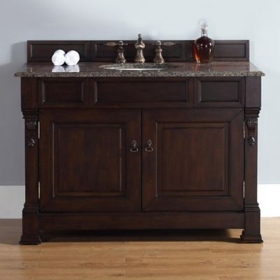 James Martin Furniture Brookfield Single Vanity with Tropical Brown Stone Top in Burnished Mahogany