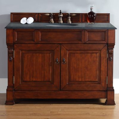 James Martin Furniture Brookfield Single Vanity with Absolute Black Rustic Stone Top in Warm Cherry