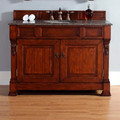 James Martin Furniture Brookfield Single Vanity with Tropical Brown Stone Top in Warm Cherry