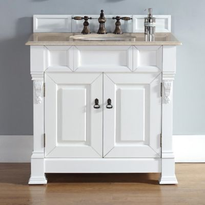 James Martin Furniture Brookfield Single Vanity with Galala Beige Marble Stone Top in Cottage White