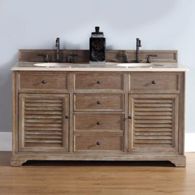 James Martin Furniture Savannah Double Vanity with Galala Beige Stone Top in Driftwood