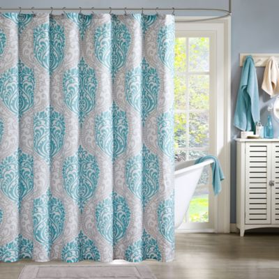 Intelligent Design Senna Shower Curtain in Aqua