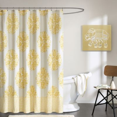 INK+IVY Melbourne Printed Shower Curtain in Yellow