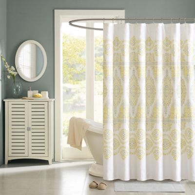 Madison Park Libreto Shower Curtain in Yellow